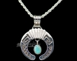 "Native American Silver Pendant Necklace 18"" -Navajo  (ij250)"