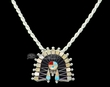 "Native American Silver Pendant Necklace 18"" -Zuni  (ij249)"