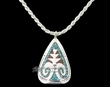"Native American Silver Pendant Necklace 18"" -Zuni  (ij251)"