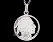 "Native Silver Pendant Necklace 20"" -Indian Head  (ij257)"