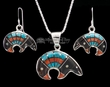 "Navajo Silver Inlaid Necklace & Earrings 20"" -Bear  (ij376)"