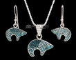 "Navajo Silver Inlaid Necklace & Earrings 20"" -Bear  (ij378)"