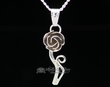"Native American Silver Pendant Necklace 20"" -Rose  (ij430)"