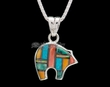 "Inlaid Silver Pendant & Necklace 22"" -Reversible  (ij379)"
