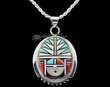 "Native American Silver Inlaid Pendant Necklace 22"" -Zuni  (ij246)"