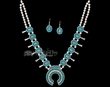 "Navajo Double Silver Turquoise Necklace & Earrings 26""  (ij228)"