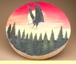 """Native American Style Painted Drum 16"""" -Sunset Eagle  (pd37)"""