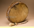 "Native American Taos Indian Hand Drum 13""  (d10)"