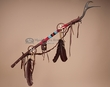 Native American Tigua Indian Antler Dance Stick 39""