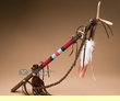 "Native American Tigua Indian Antler Top Dance Stick 35""  (5b)"
