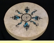 "Native American Tigua Indian Painted Drum -16"" kachinas"