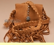 Native American Tsaligi Buckskin Medicine Bag 5x5 -Tan  (80)