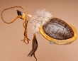 "Native American Turtle Shell Deer Foot Rattle 12""  (111)"
