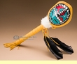 """Native American Turtle Shell Rattle 17"""" -Sun Face (180)"""