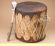 "Rustic Native Log Drum 13.5x13.25""  (pd43)"