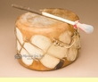 "Native Aspen Rawhide Log Drum 7.5""x5""  (pd5a)"