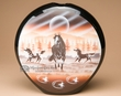 "Native Navajo Flat Pottery Pillow Vase 11"" -Horses  (nap355)"
