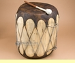 "Native Rawhide & Trunk Log Drum 12x16.5""   (pd49)"