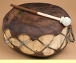 "Native Rawhide & Trunk Log Drum 13.25x6.5""   (pd57)"
