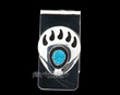 Navajo Silver & Turquoise Money Clip -Bear Paw  (ij265)