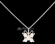 "Native Silver Pendant Necklace 20"" -Opal Butterfly  (ij366)"