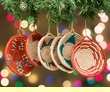 Navajo Design Woven Basket Christmas Ornament Set  (o49)