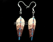 Navajo Hand Painted Bone Feather Earrings  (j169)