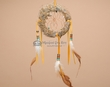 "Navajo Indian Rabbit Fur Dreamcatcher 4"" -Natural  (dc6-54)"