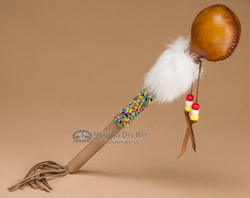"Beaded Navajo Rawhide Rattle 11"" (153)"