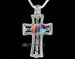 "Navajo Indian Silver Inlaid Cross Necklace 20""  (ij419)"