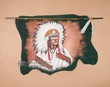 Tigua Lance & Hide Wall Hanging -Chief  (34)