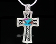 "Navajo Inlaid Silver Cross Necklace 20""  (ij418)"