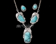 "Navajo Silver Necklace & Earrings 17""  (ij421)"