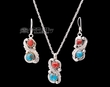 "Navajo Silver Necklace & Earrings 18""  (ij420)"