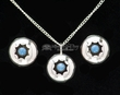 "Navajo Silver Necklace Pendant & Earrings 20""  (ij422)"
