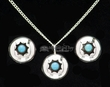 "Navajo Silver Necklace Pendant & Earrings 20""  (ij427)"