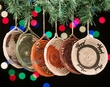Navajo Style Mini Basket Christmas Ornament Set 6 pc.  (o48)