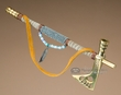 "Navajo Beaded Brass Tomahawk Pipe 8""  (p30)"