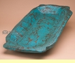 Old Style Hand Carved Handled Wood Bowl -Turquoise  (b73)