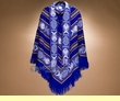 Otavalo Indian Woven Poncho -Royal Blue  (p5)