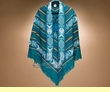 Otavalo Indian Woven Poncho -Turquoise  (p3)