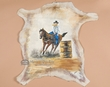 "Western Art Painted leather Hide 28""x28""-Barrel Racer  (h26)"