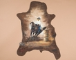 "Western Art Painted leather Hide 25""x34""-Barrel Racer  (h26)"