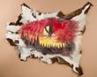 """Painted Hide for Rustic Decor 35""""x30"""" -Sunset Eagle  (58)"""