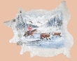 Painted Cowhide Wall Hanging  -Snow On The Merced  (ph3)