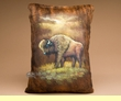 Painted Cowhide Pillow 12x18 - Buffalo  (11)