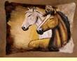 Painted Cowhide Pillow - Horses  (P14)
