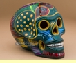 """Painted Day Of The Dead Skull 6.5"""" -green  (s5)"""