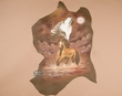 Western Art Painted Leather Hide -Horse & Wolf  (h48)