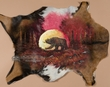 Painted Hide for Western Decor 36x27 -Moonlit Bear  (ph2)